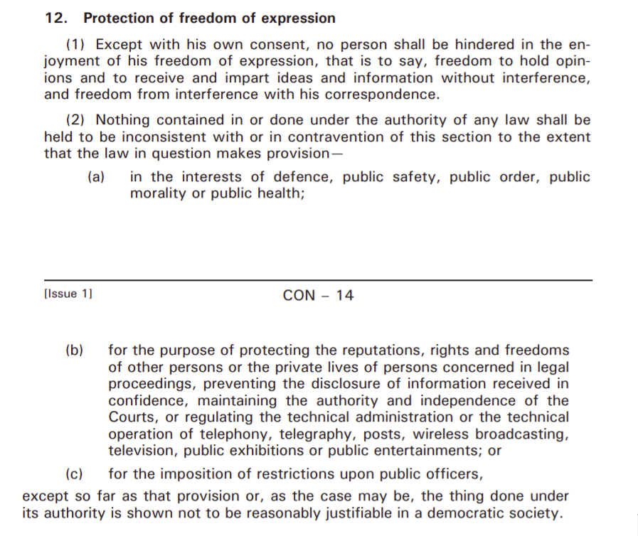 Extract of the Constitution of Mauritius (Section 12)